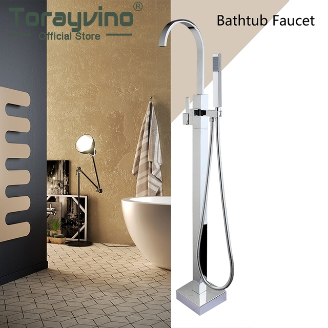 Bathroom Floor Mounted Bathroom Bath Clawfoot Tub Filler Faucet
