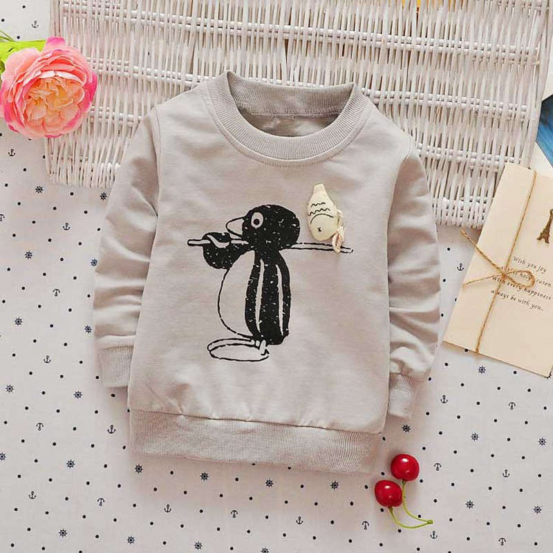 Autumn-spring-Children-clothing-girls-boys-babys-Cartoon-Penguin-print-o-neck-long-sleeve-t-shirt-Y2468-1