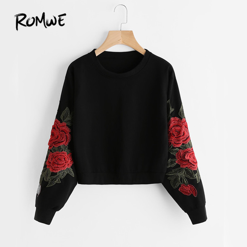 ROMWE Rose Embroidery Sweatshirt Women Vintage Black Long Sleeve Autumn  Pullover 2018 New Applique Casual O Neck Sweatshirt 8bb36fcadb