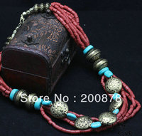 TNL520 Tibetan Antiqued Ethnic Red Coral Beads Necklace Amazing Red Multi Layers Necklace