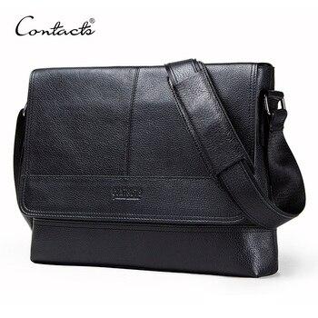 CONTACT'S genuine leather men's shoulder bag for laptop 12'' crossbody bags male bolsa top quality business man messenger bags