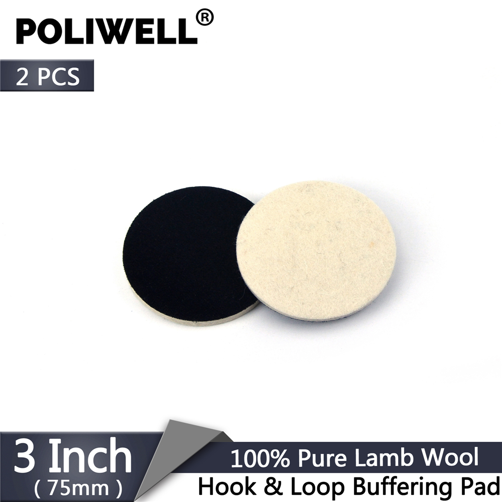 POLIWELL 2Pcs 3 Inch 75mm Wool Polishing Pad Buffering Pads Hook & Loop Backing Grinding Wheel Disc For Glass Car Polisher