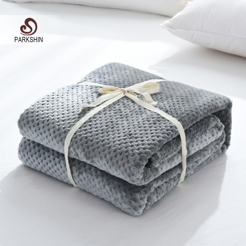 Parkshin 2019 Fashion Gray Flannel Pineapple Blanket Aircraft Sofa Office Adult Blanket Car Travel Warm Throw Blanket For Couch-in Blankets from Home & Garden