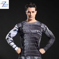 2017 New Latest Style Of Fitness Compression Shirt Male Hero Iron Man Superman Fitness Long Sleeve