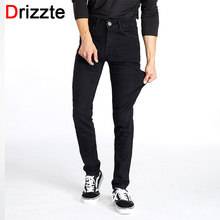 Drizzte Men Classic Black Denim Jeans Stretch Slim Fit Denim Plus Size 36 38 40 42 44 Full Long For Men's Jean