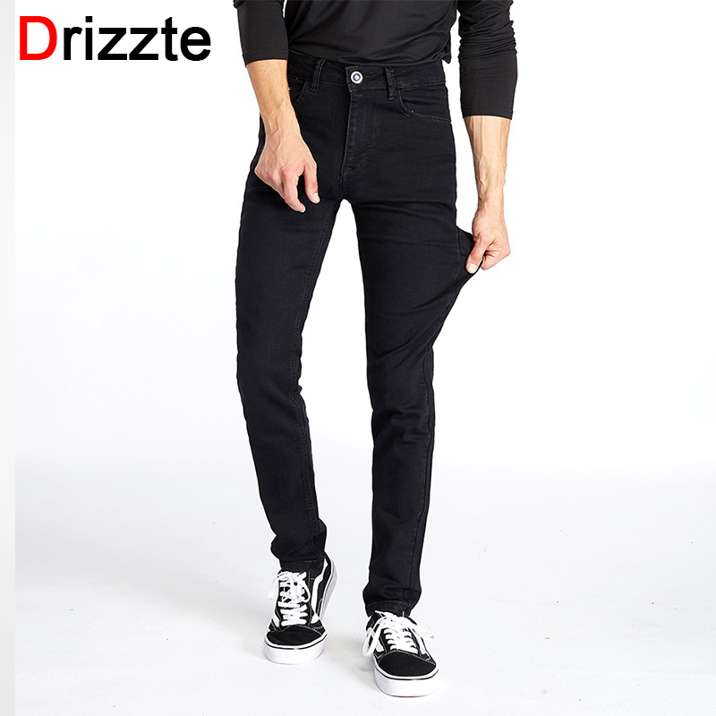Drizzte Men Classic Black Denim Jeans Stretch Slim Fit Denim Plus Size 36 38 40 42 44 Full Long For Men's Jean