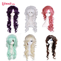 L-email wig 70cm Synthetic Hair Lady's Princess Wigs Long Dark Brown White Blonde Purple Pink Curly Wig