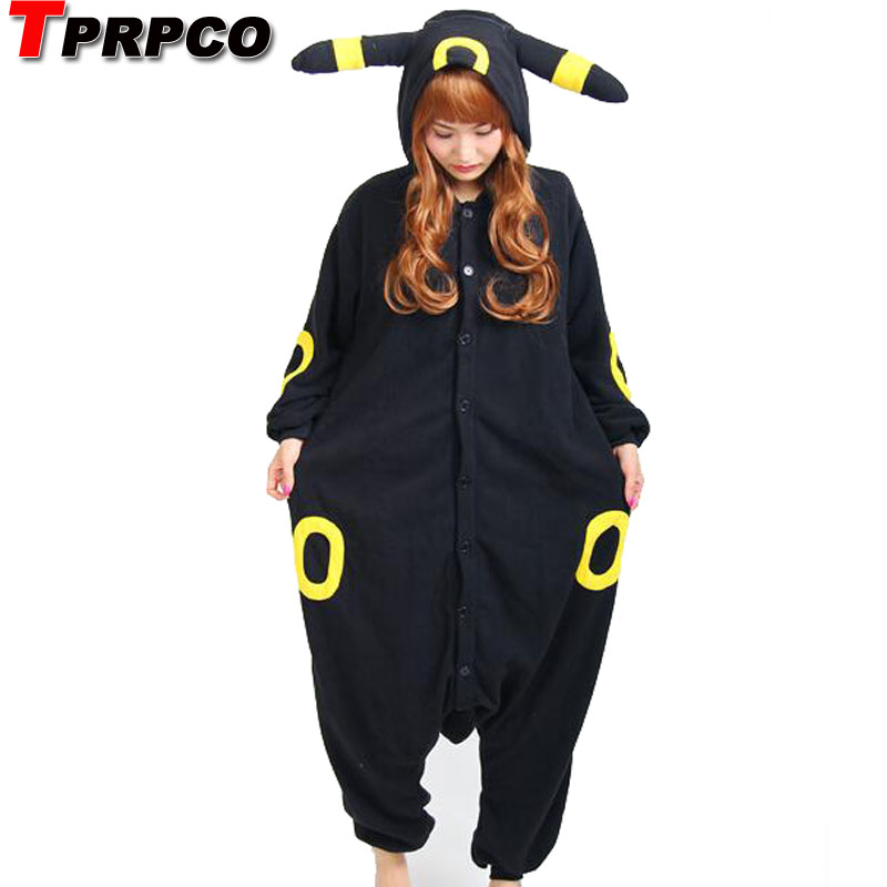 TPRPCO Fleece Pokemon Black Blue Umbreon Espeon Cartoon Footed Onesies Animal Pajamas Cosplay Costumes NL169