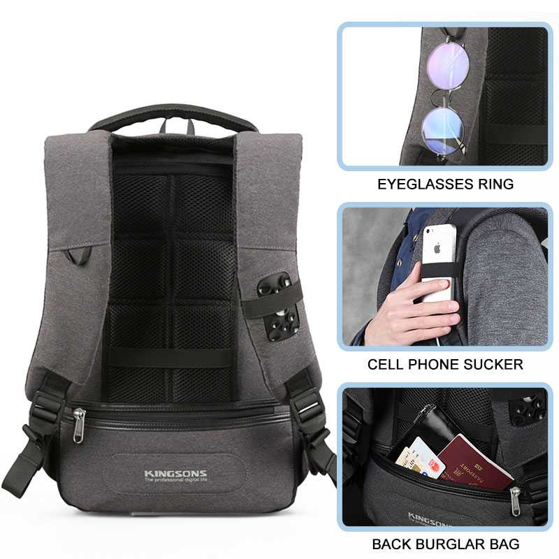 Kingsons AntiTheft and USB Charging Port Backpack AntiSlip Polyester Laptop / Tablet PC Trolley