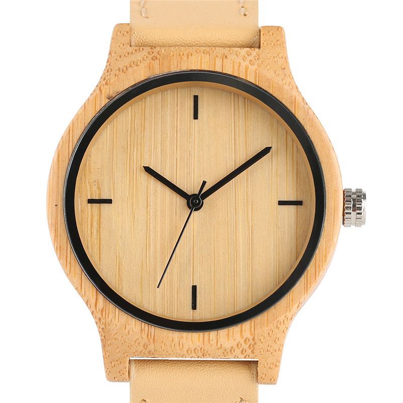 Natural Bamboo Wood Watches Women Quartz Watch Analog Ladies Womens Classic Simple Genuine Leather Relojes Mujer Marca De Lujo