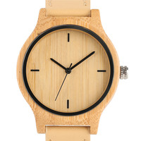 Genuine Leather Band Strap Analog Nature Bamboo Wrist Watch Trendy Cool Novel Sport Gift Simple Modern