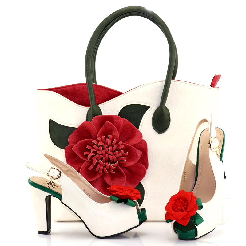 Women Shoes and Bags To Match Set African Shoes and Matching Bags Italian Shoes and big Bag Beautiful white with red applique djs7418 2 women shoes high heels for wedding italian shoes with matching bags african shoes and bags to match peep toe sandal