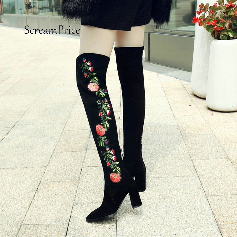 Winter Fashion Ethnic Embroider New Zipper Over The Knee Boots Comfortable Square Heel Elastic Boots Black фонарь jtc 3103