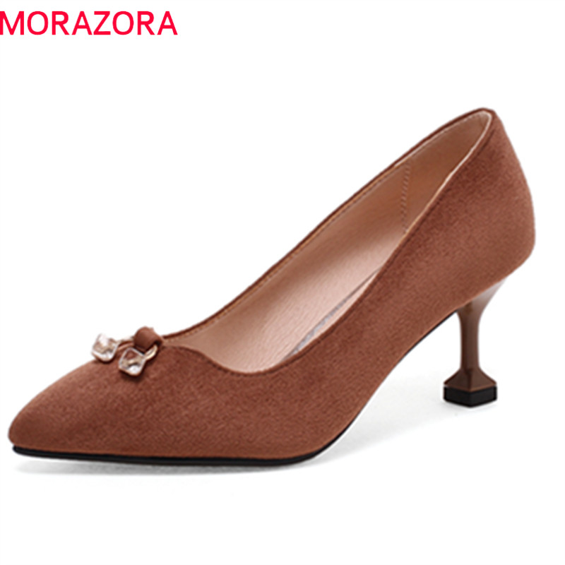 MORAZORA 2018 spring summer pumps women shoes with crystal shallow slip on high heels flock mature dress ladies shose sweet women high quality bowtie pointed toe flock flat shoes women casual summer ladies slip on casual zapatos mujer bt123