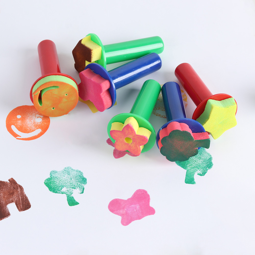 1Set(6Pcs) Creative Sponge Stamps Toys Painting Brush Children Painting Brush Flower Stamp Kids DIY Drawing Toys Art Supplies