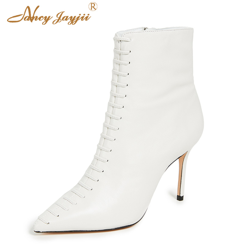 White Women Ankle Boots Side Zipper Shoes 10cm Thin Heels Autumn Female Large Size 40 38 Office Cross-tied New Designer