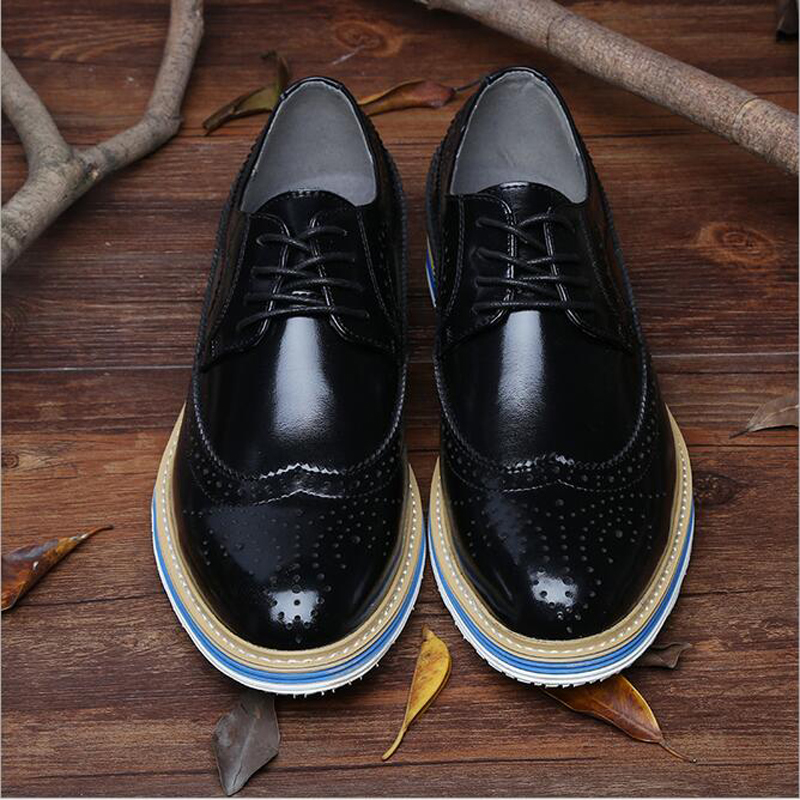 Genuine Leather Men's Shoes Oxfords Vintage Wedding Dress Shoes Business Formal Brogue Round Toe Carved 38-44 Plus Size
