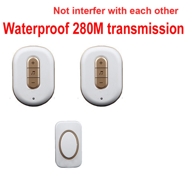 Good 5 Wall U0026280M Work Music Bell W/ 2 Receivers Wireless Doorbell Waterproof Wireless  Door Chime