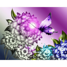 Diy Diamond Painting Cross Stitch Butterfly Falling On Flower Needlework Embroidery Full Round Mosaic Decoration Resin