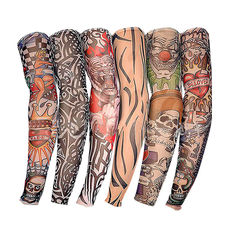 6pcs New Nylon Elastic Fake Temporary Tattoo Sleeve Designs Body Arm Stockings Tatoo For Cool Men Women  KS-shipping