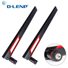Dlenp 2pcs 2.4Ghz 5Ghz 5.8Ghz Dual Band Antenna for WIFI Router 12dBi Antenna with RP SMA Male Connector (hole)
