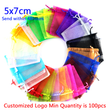 ФОТО gift bags for jewelry wholesale 500pcs mix color 5*7cm solid transparent organza bags small drawstring embalagem para presente