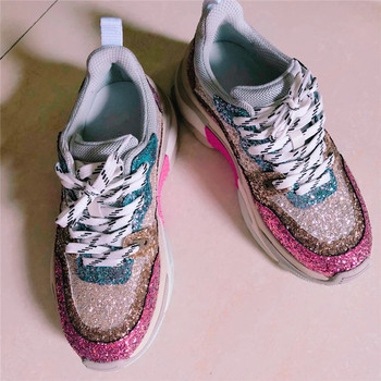 Luxury designer lace super women's shoes ladies sequins Bling pink mixed color sneakers 2018 street style fashion platform shoes