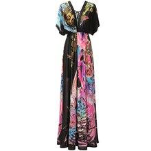 2017 Casual Femmes Robe De Plage Plus La Taille 7XL Long Maxi Fleur robe Col En V À Manches Courtes Sexy Dos Ouvert Robes Robe femme ete
