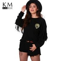 Kissmilk Plus Größe Solid Black Tiger Bestickte Frauen Sweatshirts O-ansatz Lange Quaste Weiblichen Pullover Casual Kurze Dame