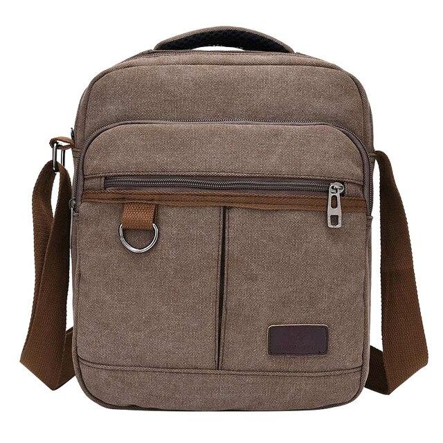 Solid Canvas Casual Men's Handbags Crossbody Zipper Design Men's Flap Single Shoulder Bags Multifunction Travel Cross Body Bags