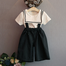 2017 Girls Clothing Sets New Summer Fashion Style  Academy Wind T-Shirt +striped Suspenders Pants 2Pcs Girls Clothes Sets