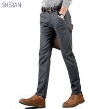 Брюки мужские хлопковые повседневные модные прямые штаны для