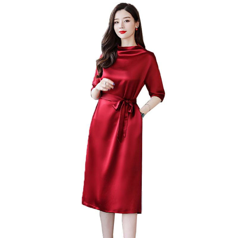 Spring Summer Red Dresses Women Vintage High Quality Evening Party Dress Plus size Ladies Elegant Dress