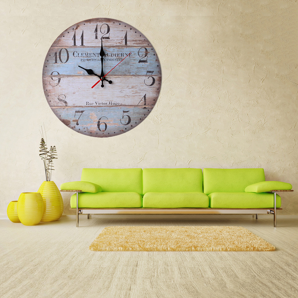 Vintage Style Non Ticking Silent Antique Wood Large Wall Clock ...