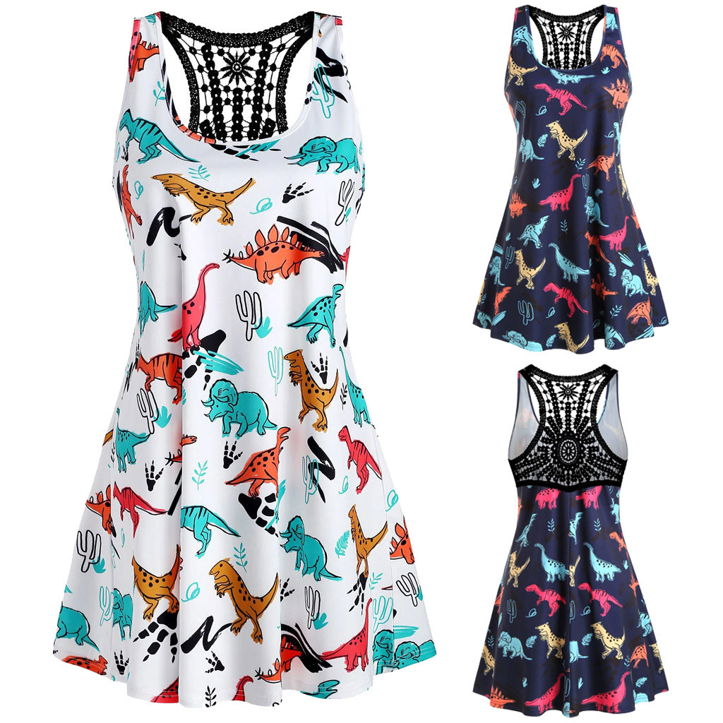 Women's Clothing Summer Dress For Womens Sexy Sleeveless Dinosaur Print O-neck Lace Hollow Tank Short Dress Sexy Womens Clothing Verano Robe