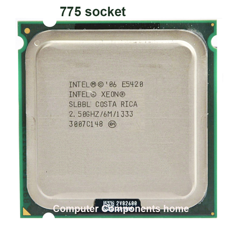 intel xeon <font><b>E5420</b></font> LGA 775 scoket 771 to 775 2.5GHz/12M/1333Mhz/CPU equal works on 775 motherboard image