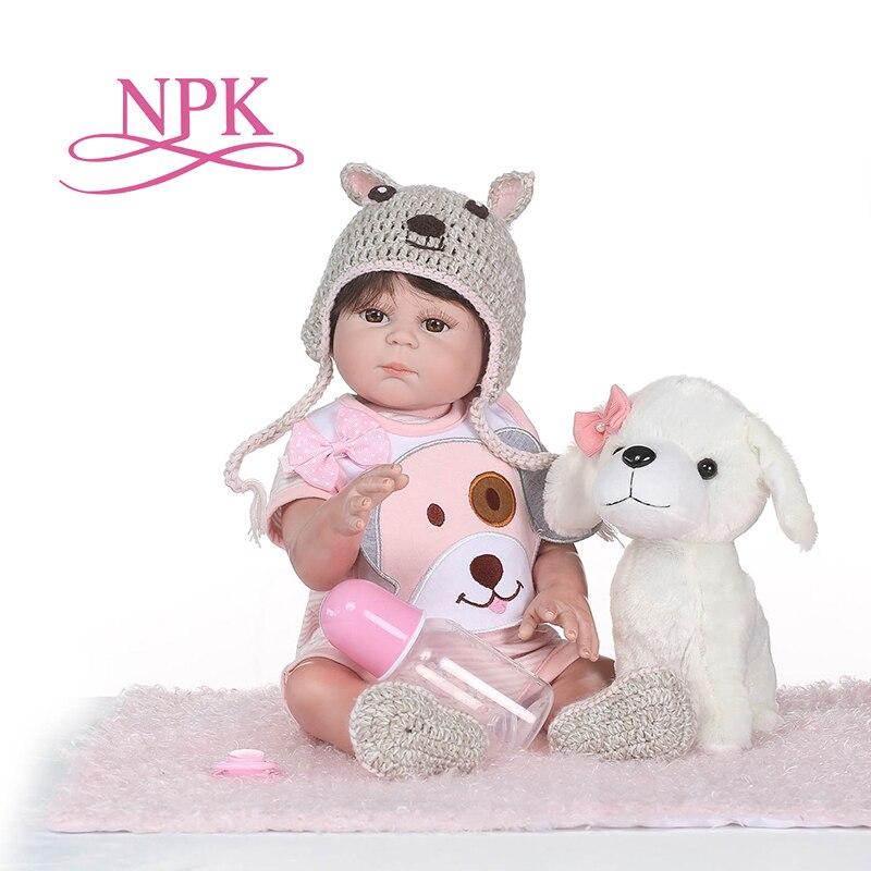 NPK Full Body Silicone Reborn Girl Baby Doll Toys Lifelike Baby Reborn Doll Child Birthday Christmas