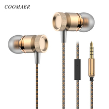 Metal 3.5MM Jack Stereo Surround Bass in- Ear wired Earphone With Microphone Ear Buds For  Mobile Phone Headset