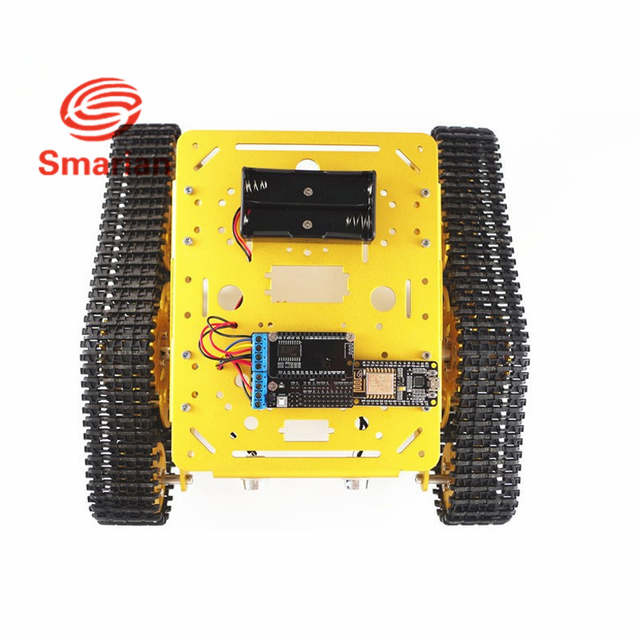 US $88 44 5% OFF|Official Smarian WiFi RC Metal Robot Tank Chassis T300  from NodeMCU Development Kit with L293D Motor Shield DIY RC Toy by App-in