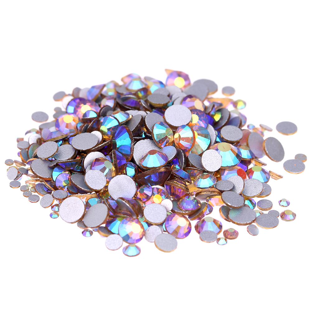 Light Topaz AB Non Hotfix Crystal Rhinestones SS3-SS30 And Mixed Sizes Glue On Shiny Glass Chatons DIY 3D Nails Art Accessories 1pack colorful mixed size nail art rhinestones shiny ab crystal non hotfix flatback glass 3d diy gems manicure nails decorations