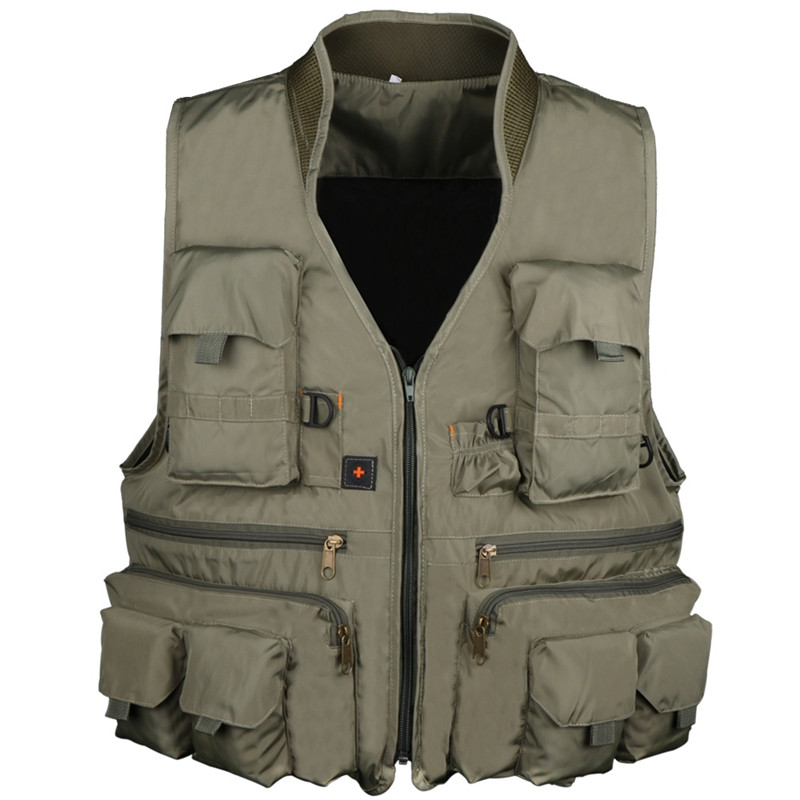 Waterproof Mens Outdoor Fishing Vest Photography Camping Hunting Multi Pocket Nylon Cotton Waistcoat Fishing Jackets men s multi pocket camouflage fishing vest summer autumn hunting outdoor travel waistcoat quick dry zip jacket l xxxxl