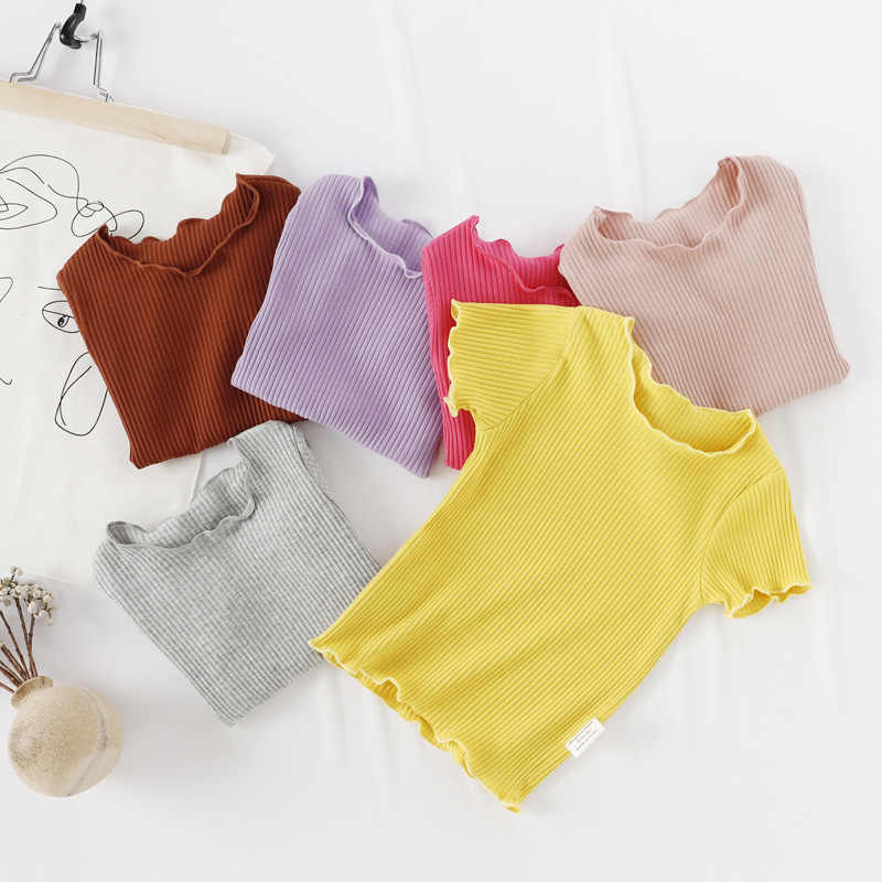 Girls' wooden-ear short-sleeved T-shirt summer new middle and small cotton top