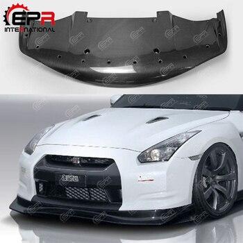 Dla Nissan R35 GTR (na początku) bawić styl z włókna węglowego przedni Lip z Undertray błyszczące wykończenie zderzak Splitter części strojenia Body Kit