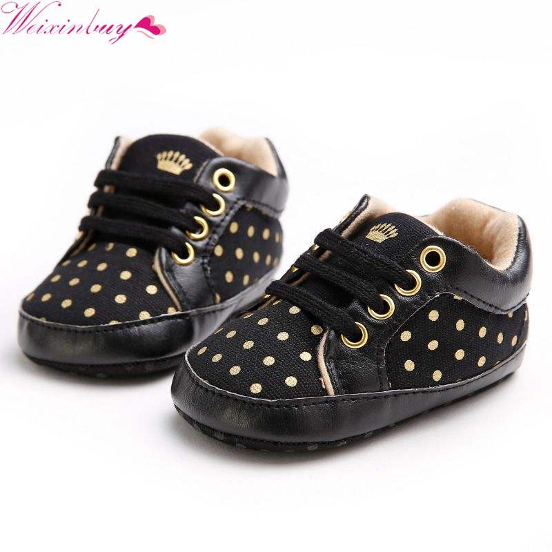 Baby Boys Polk Dot Spring Autumn Toddler First Walker Baby Shoes Boy Girl Soft Sole Crib Laces Sneaker Prewalker Sapatos
