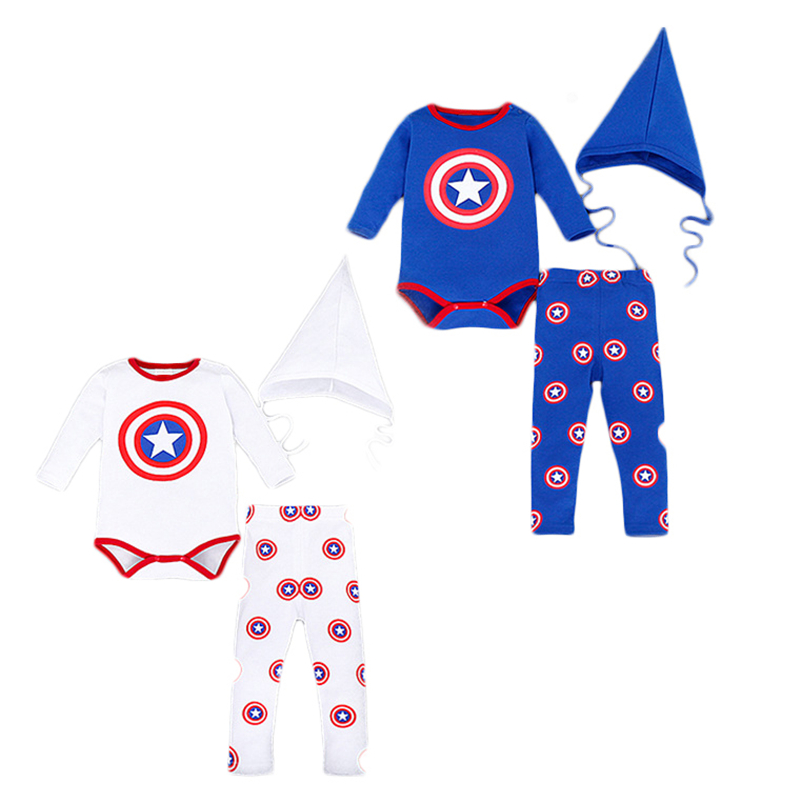 Newborn Clothing Set Captain America Boys Clothes Cotton Baby Girl Outfits Cartoon Bodysuits Spring Autumn Baby Kids Tracksuit