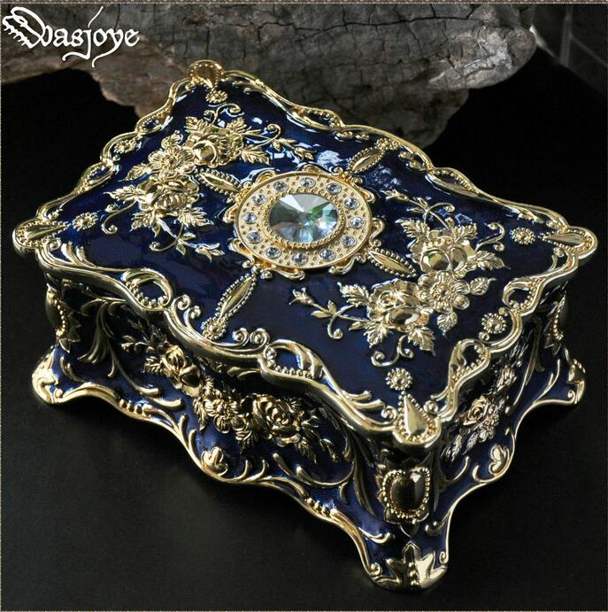 retro flower carved two layer metal jewelry box jewelry organizer gift cardboard boxes for makeup organizer