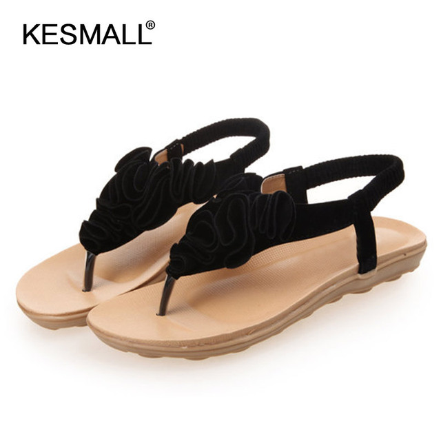 11b74f866 Shoes women Ladies sandals 2018 summer new bottom flat heel Heel Toe  Bohemia sandals female flower beach shoes wholesale
