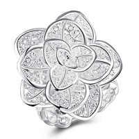 R116 alta calidad bañado en plata y estampado 925 grandes anillos de flores wonderfund para mujeres anillo de dedo regalo de Navidad al por mayor