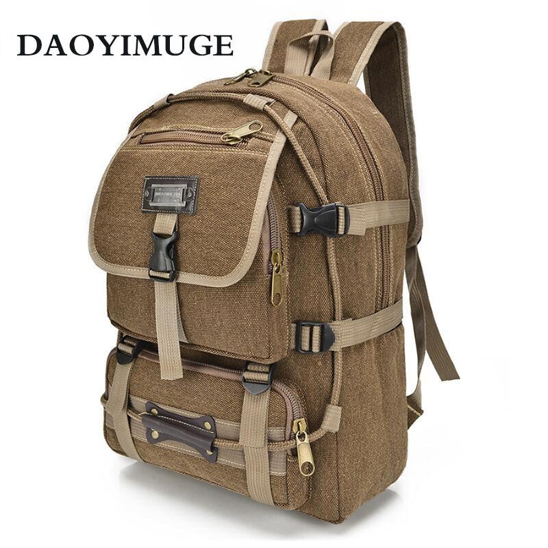 Stylish Canvas Backpack Trend Casual Men's Bag Shoulders Computer Back Outdoor Travel Bag