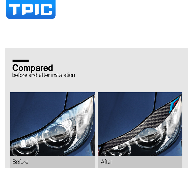 Image 5 - TPIC Carbon Fiber Headlights Eyebrows Eyelids Car Stickers For BMW E90 Front Headlamp Eyebrows 3 series 2005 2012 accessories-in Car Stickers from Automobiles & Motorcycles